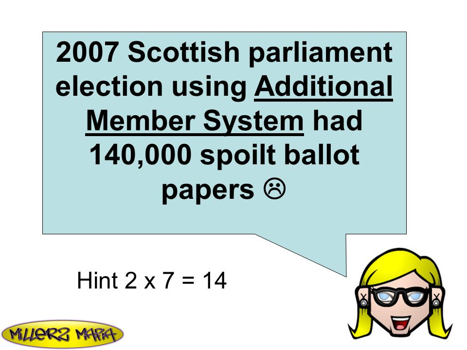 2007 Scottish parliament election using Additional Member System had 140,000 spoilt ballot papers  Hint 2 x 7 = 14