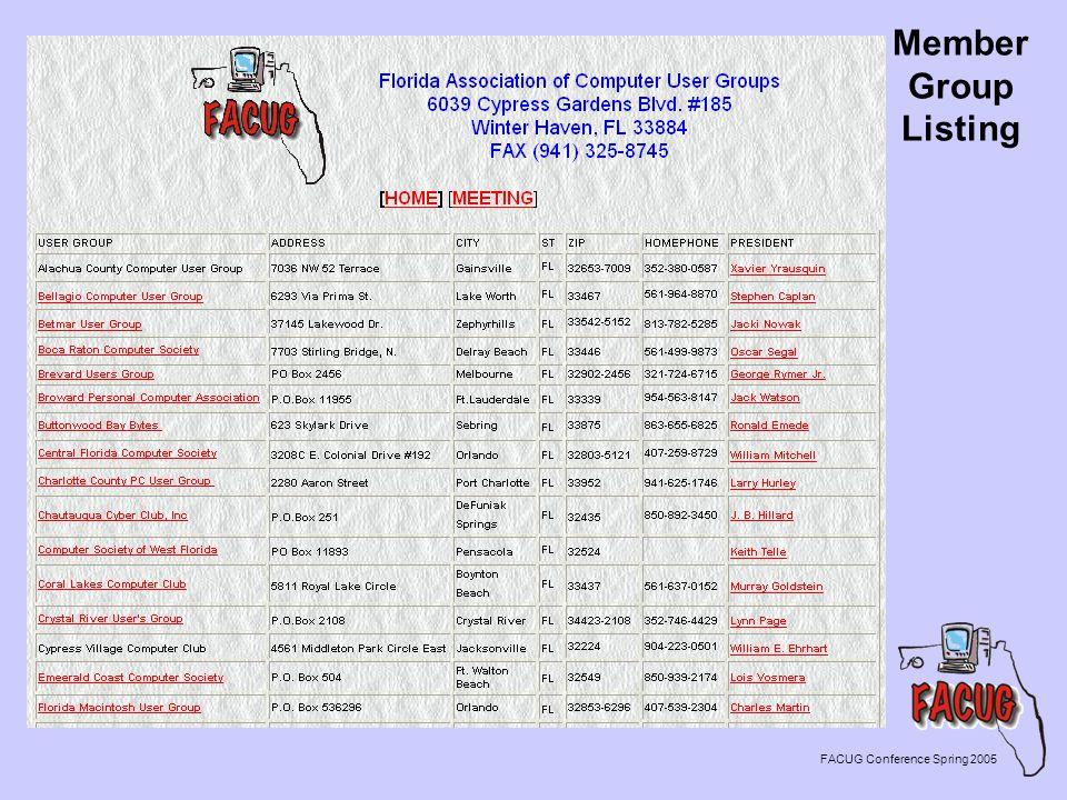 Member Group Listing