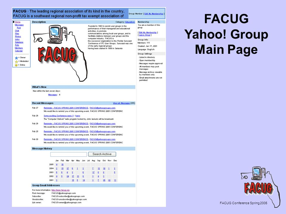 FACUG Yahoo! Group Main Page