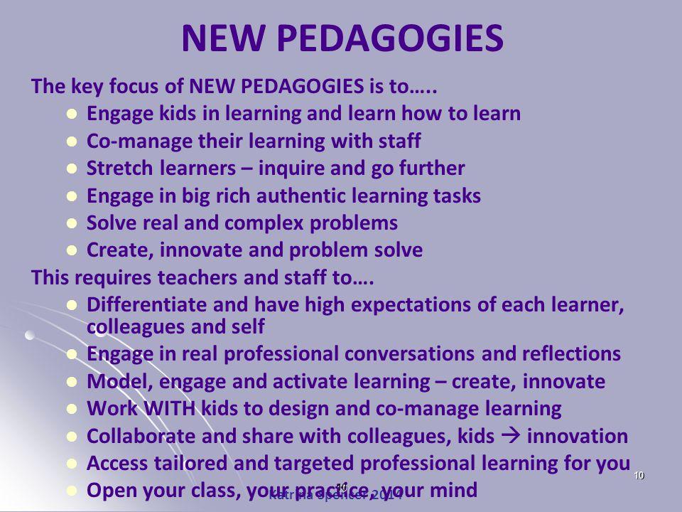 Katrina Spencer 2014 NEW PEDAGOGIES The key focus of NEW PEDAGOGIES is to…..
