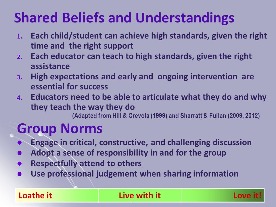 Katrina Spencer 2014 29 Shared Beliefs and Understandings 1.