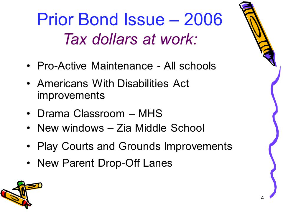 Pro-Active Maintenance - All schools Americans With Disabilities Act improvements Drama Classroom – MHS New windows – Zia Middle School Play Courts and Grounds Improvements New Parent Drop-Off Lanes Prior Bond Issue – 2006 Tax dollars at work: 4