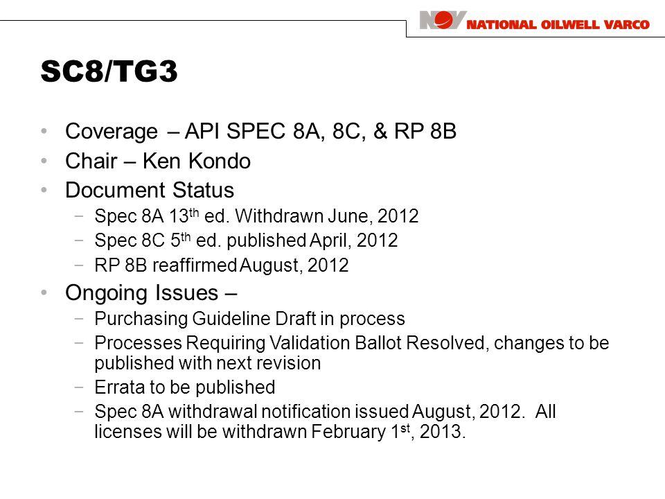 SC8/TG3 Coverage – API SPEC 8A, 8C, & RP 8B Chair – Ken Kondo Document Status −Spec 8A 13 th ed.