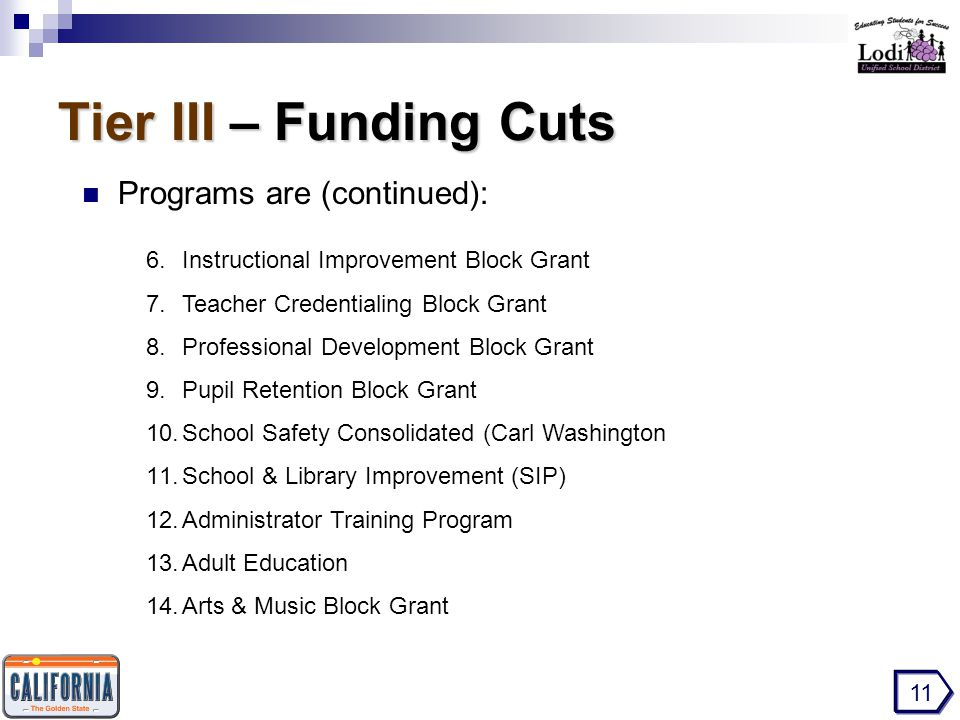 Tier III – Funding Cuts Programs are (continued): 11 6.Instructional Improvement Block Grant 7.Teacher Credentialing Block Grant 8.Professional Development Block Grant 9.Pupil Retention Block Grant 10.School Safety Consolidated (Carl Washington 11.School & Library Improvement (SIP) 12.Administrator Training Program 13.Adult Education 14.Arts & Music Block Grant