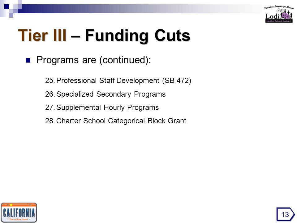 Tier III – Funding Cuts Programs are (continued): 13 25.Professional Staff Development (SB 472) 26.Specialized Secondary Programs 27.Supplemental Hourly Programs 28.Charter School Categorical Block Grant