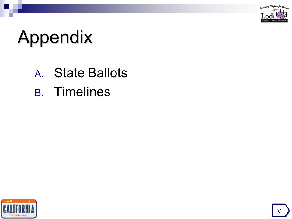 Appendix A. State Ballots B. Timelines v.