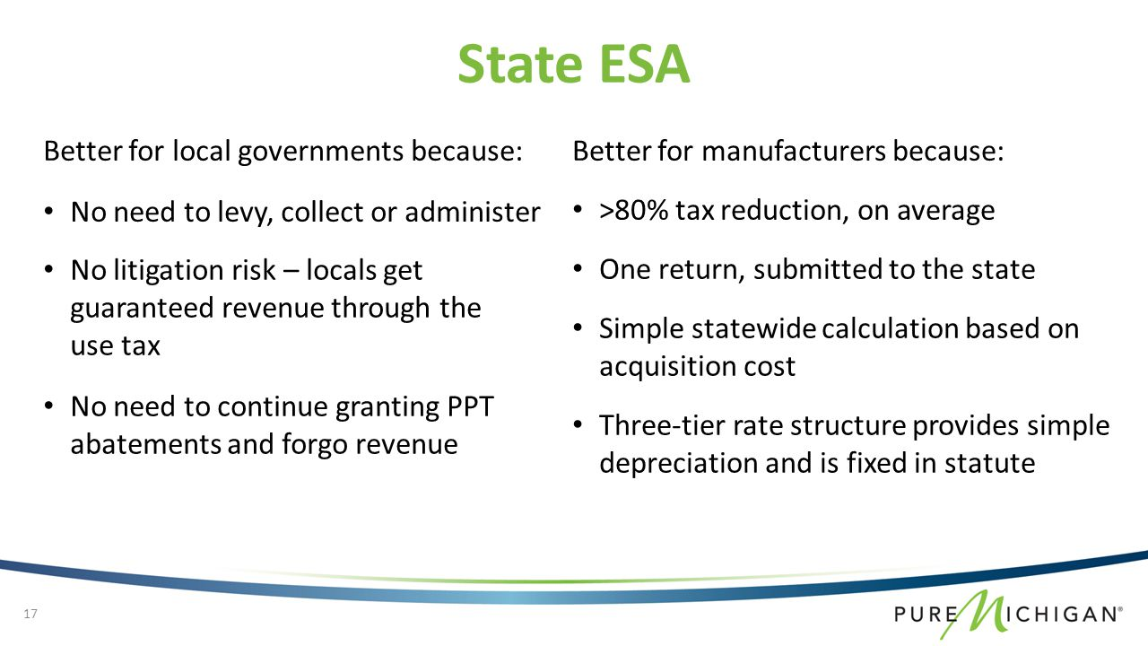 No need to levy, collect or administer Better for local governments because: State ESA 17 Better for manufacturers because: >80% tax reduction, on average No litigation risk – locals get guaranteed revenue through the use tax No need to continue granting PPT abatements and forgo revenue One return, submitted to the state Simple statewide calculation based on acquisition cost Three-tier rate structure provides simple depreciation and is fixed in statute
