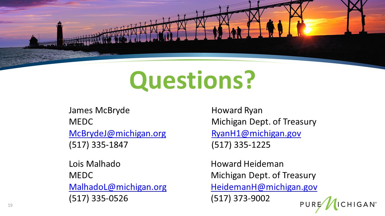 Questions. Howard Heideman Michigan Dept.