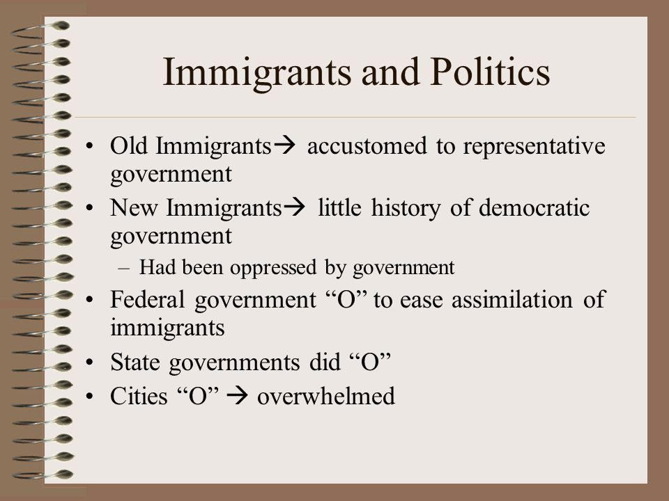 Immigrants and Politics Old Immigrants  accustomed to representative government New Immigrants  little history of democratic government –Had been oppressed by government Federal government O to ease assimilation of immigrants State governments did O Cities O  overwhelmed
