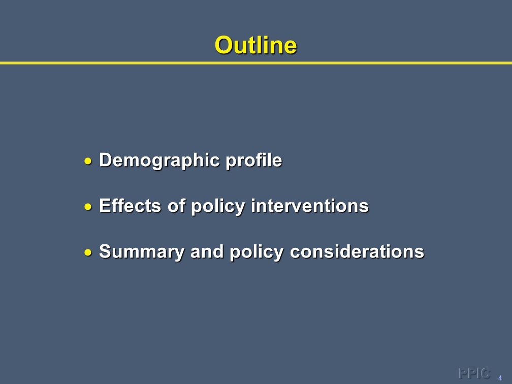4Outline  Demographic profile  Effects of policy interventions  Summary and policy considerations