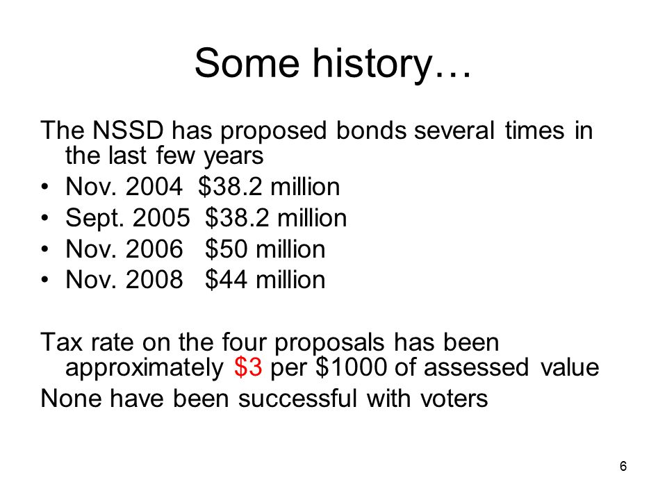 6 Some history… The NSSD has proposed bonds several times in the last few years Nov.