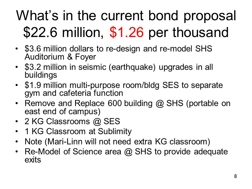 8 What's in the current bond proposal $22.6 million, $1.26 per thousand $3.6 million dollars to re-design and re-model SHS Auditorium & Foyer $3.2 mil