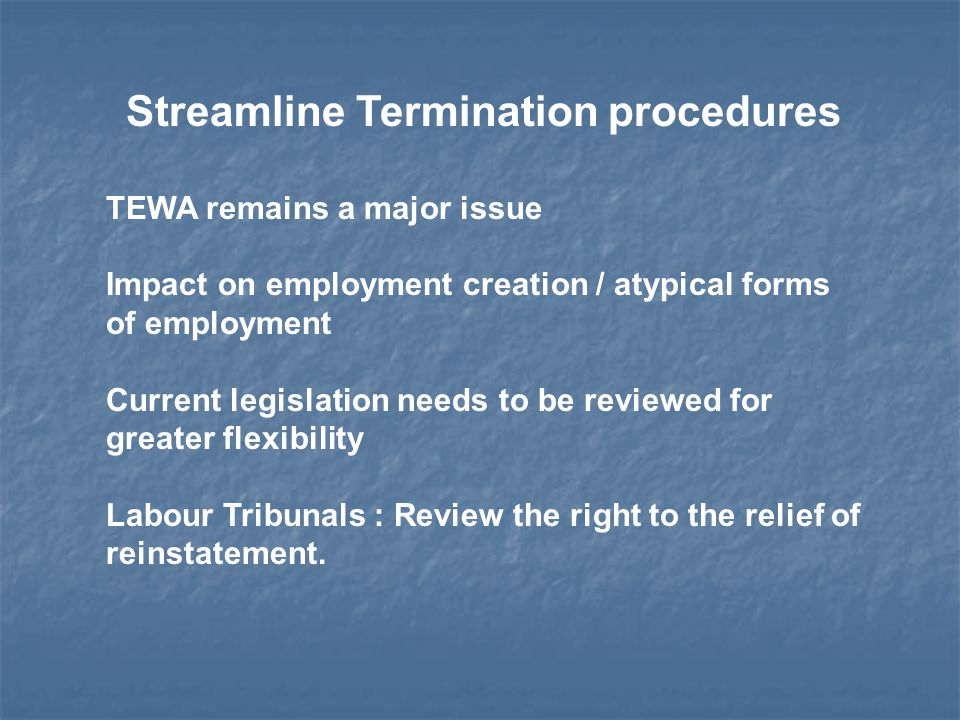Streamline Termination procedures TEWA remains a major issue Impact on employment creation / atypical forms of employment Current legislation needs to be reviewed for greater flexibility Labour Tribunals : Review the right to the relief of reinstatement.