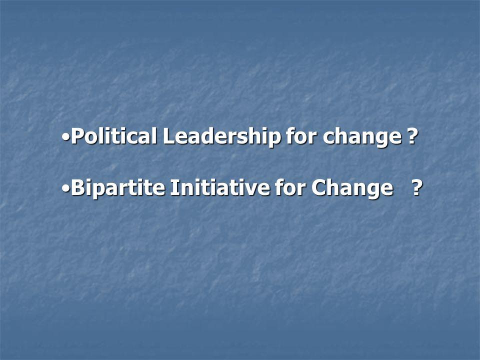 Political Leadership for change ?Political Leadership for change .
