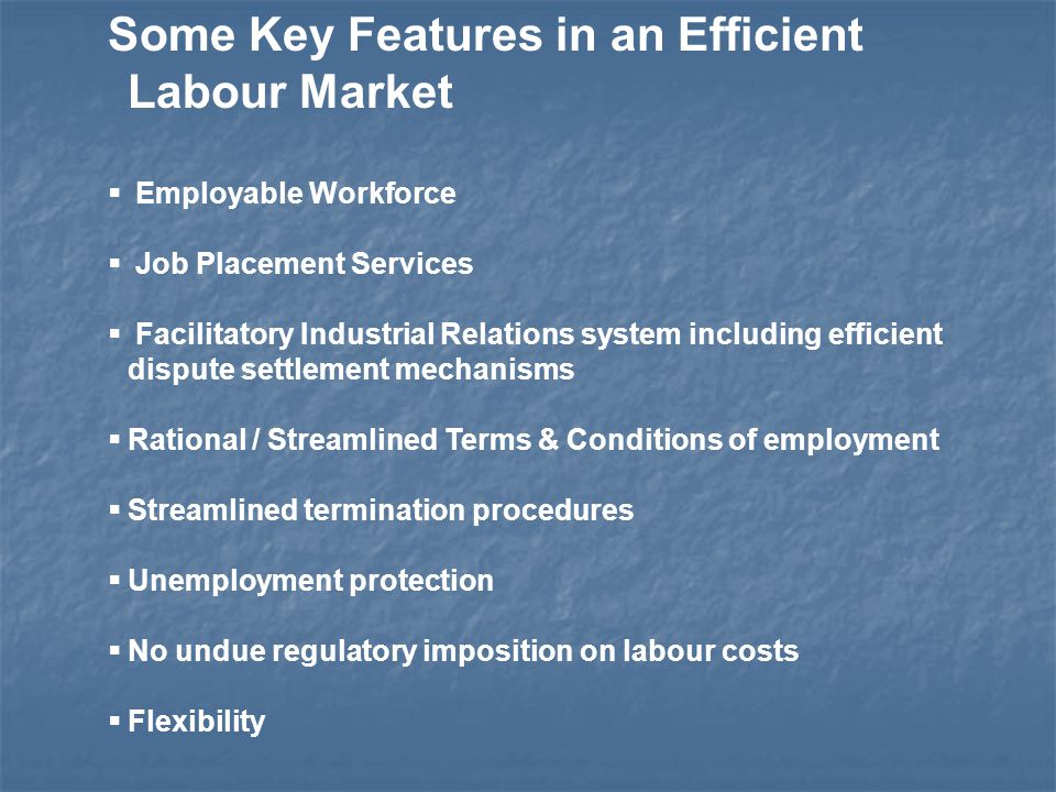 Some Key Features in an Efficient Labour Market  Employable Workforce  Job Placement Services  Facilitatory Industrial Relations system including efficient dispute settlement mechanisms  Rational / Streamlined Terms & Conditions of employment  Streamlined termination procedures  Unemployment protection  No undue regulatory imposition on labour costs  Flexibility