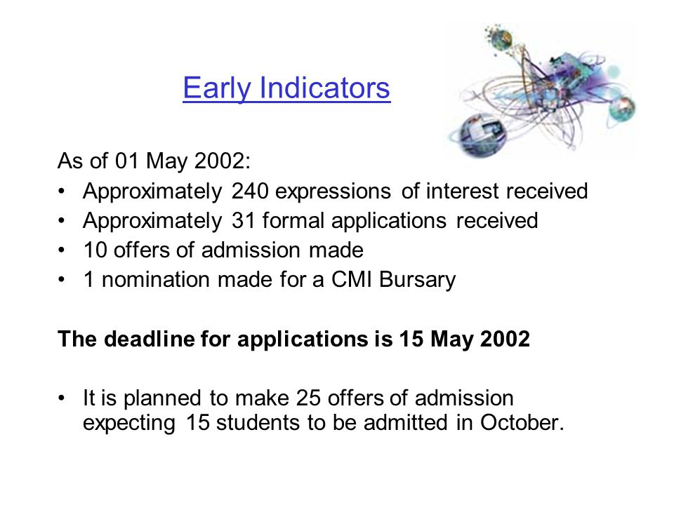 Early Indicators As of 01 May 2002: Approximately 240 expressions of interest received Approximately 31 formal applications received 10 offers of admission made 1 nomination made for a CMI Bursary The deadline for applications is 15 May 2002 It is planned to make 25 offers of admission expecting 15 students to be admitted in October.