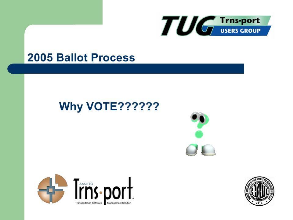 Why VOTE 2005 Ballot Process
