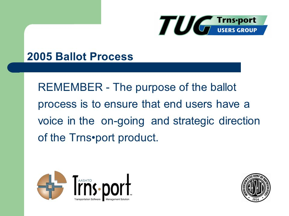 REMEMBER - The purpose of the ballot process is to ensure that end users have a voice in the on-going and strategic direction of the Trnsport product.