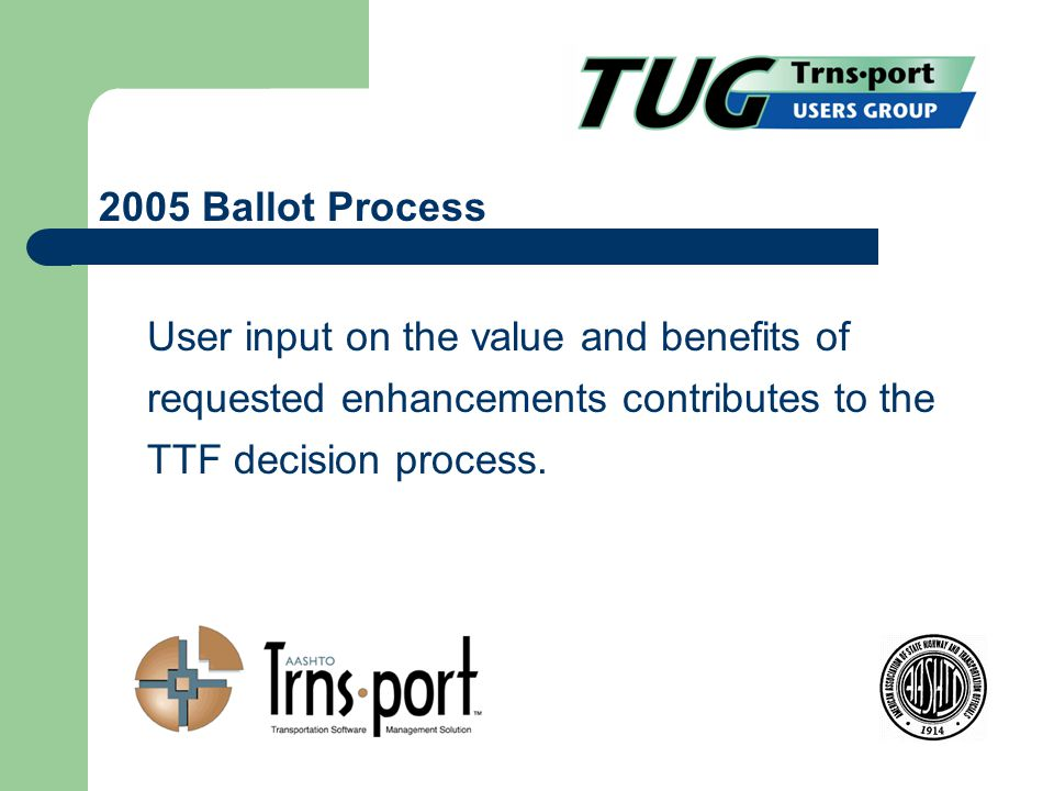 User input on the value and benefits of requested enhancements contributes to the TTF decision process.