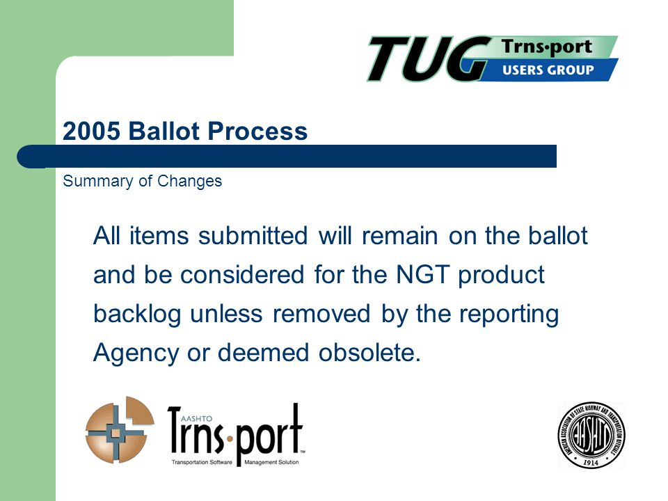 All items submitted will remain on the ballot and be considered for the NGT product backlog unless removed by the reporting Agency or deemed obsolete.