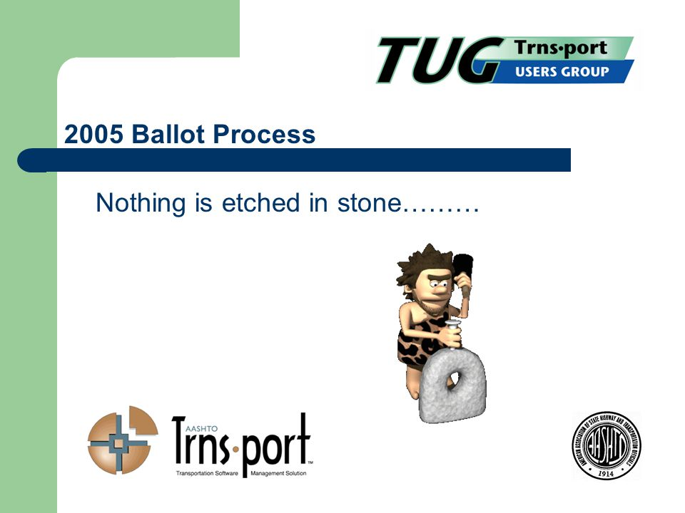 Nothing is etched in stone……… 2005 Ballot Process