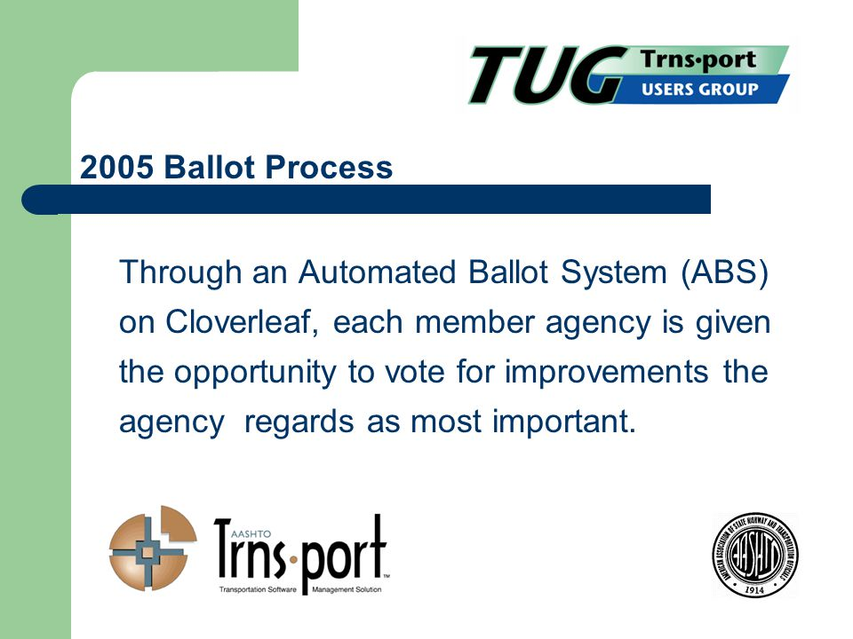 Through an Automated Ballot System (ABS) on Cloverleaf, each member agency is given the opportunity to vote for improvements the agency regards as most important.