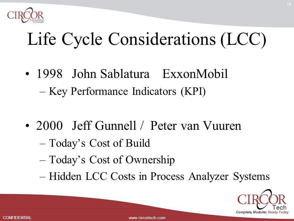 Complete, Modular, Ready Today www.circortech.comCONFIDENTIAL 18 Life Cycle Considerations (LCC) 1998 John Sablatura ExxonMobil –Key Performance Indicators (KPI) 2000 Jeff Gunnell / Peter van Vuuren –Today's Cost of Build –Today's Cost of Ownership –Hidden LCC Costs in Process Analyzer Systems