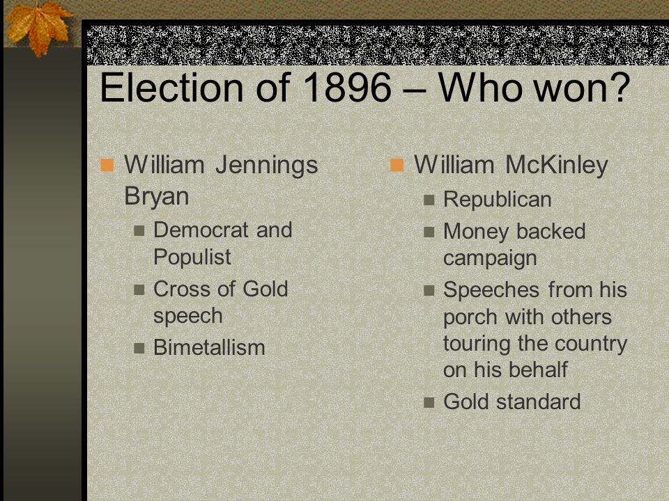 Election of 1896 – Who won.