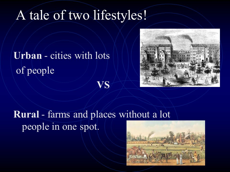 A tale of two lifestyles! Urban - cities with lots of people VS Rural - farms and places without a lot people in one spot.