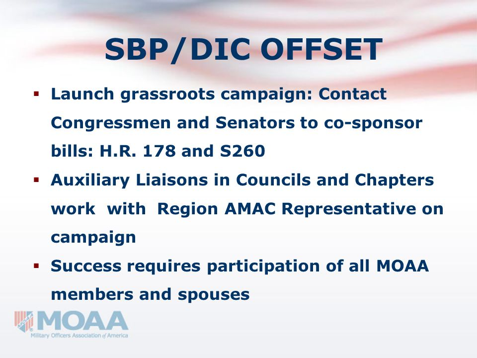 SBP/DIC OFFSET  Launch grassroots campaign: Contact Congressmen and Senators to co-sponsor bills: H.R. 178 and S260  Auxiliary Liaisons in Councils