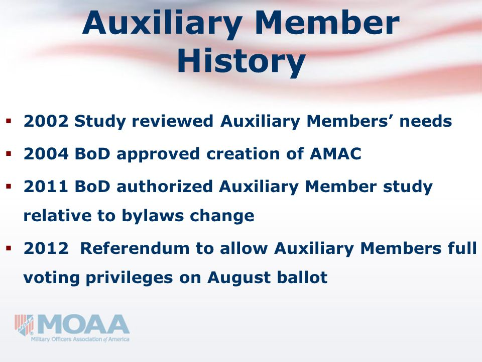 Auxiliary Member History  2002 Study reviewed Auxiliary Members' needs  2004 BoD approved creation of AMAC  2011 BoD authorized Auxiliary Member st