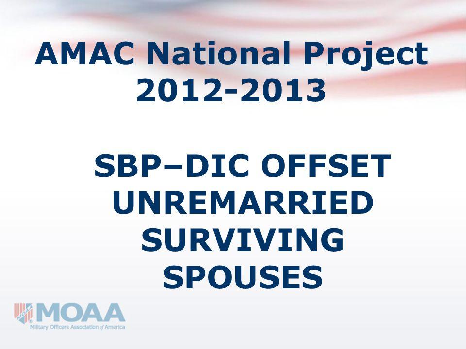 AMAC National Project 2012-2013 SBP–DIC OFFSET UNREMARRIED SURVIVING SPOUSES