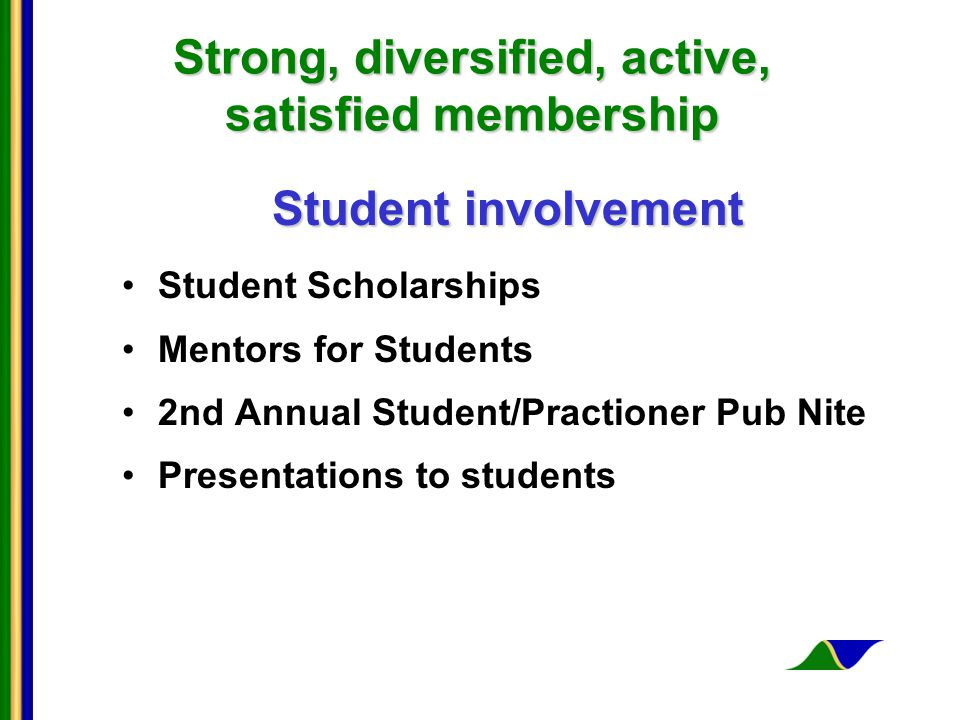 Strong, diversified, active, satisfied membership Student involvement Student Scholarships Mentors for Students 2nd Annual Student/Practioner Pub Nite Presentations to students