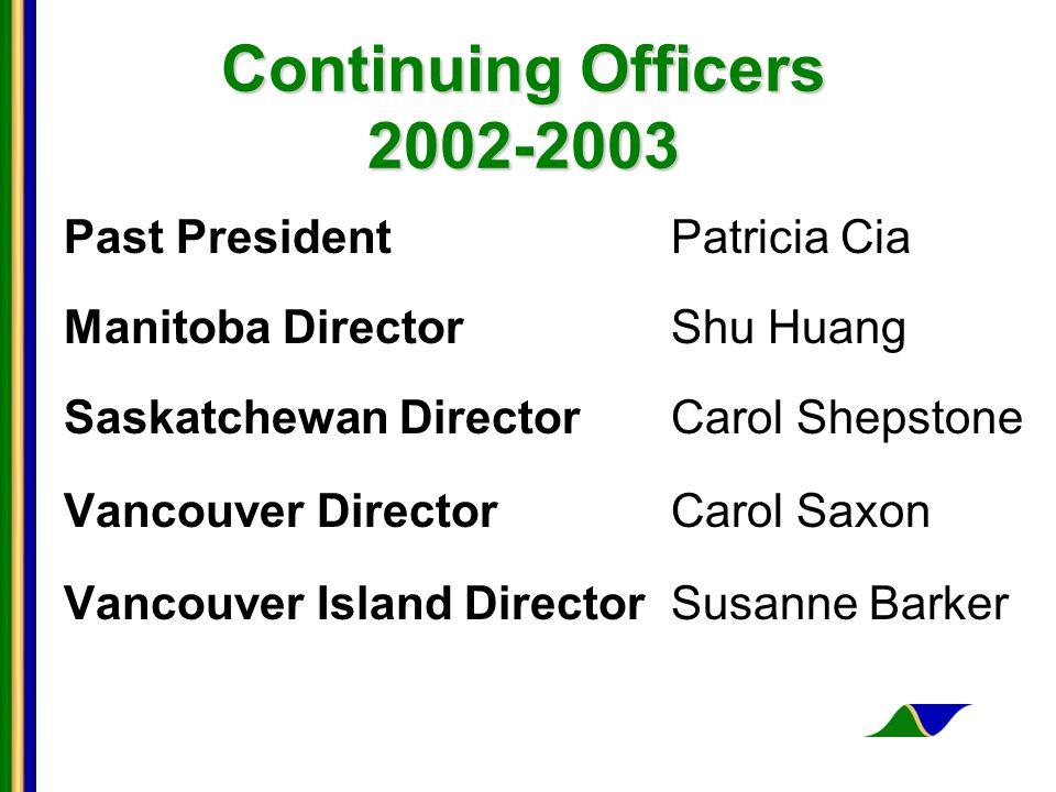 Continuing Officers 2002-2003 Past PresidentPatricia Cia Manitoba DirectorShu Huang Saskatchewan DirectorCarol Shepstone Vancouver DirectorCarol Saxon Vancouver Island DirectorSusanne Barker