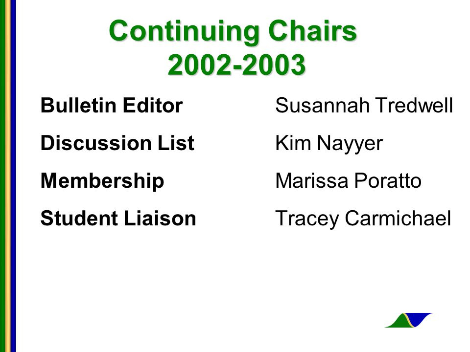 Continuing Chairs 2002-2003 Bulletin EditorSusannah Tredwell Discussion ListKim Nayyer MembershipMarissa Poratto Student LiaisonTracey Carmichael