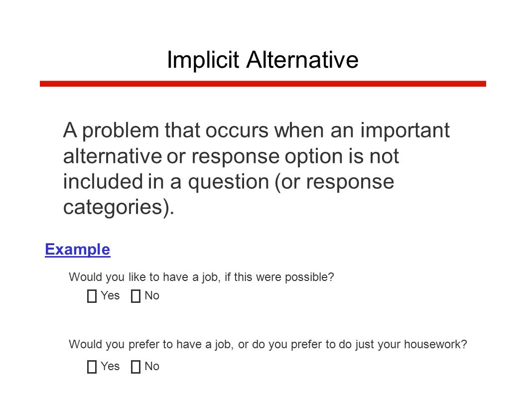 A problem that occurs when an important alternative or response option is not included in a question (or response categories).