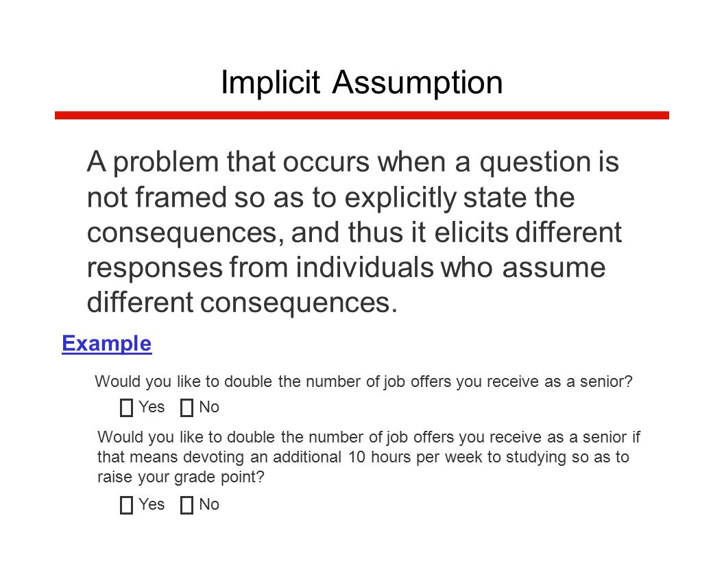 A problem that occurs when a question is not framed so as to explicitly state the consequences, and thus it elicits different responses from individuals who assume different consequences.