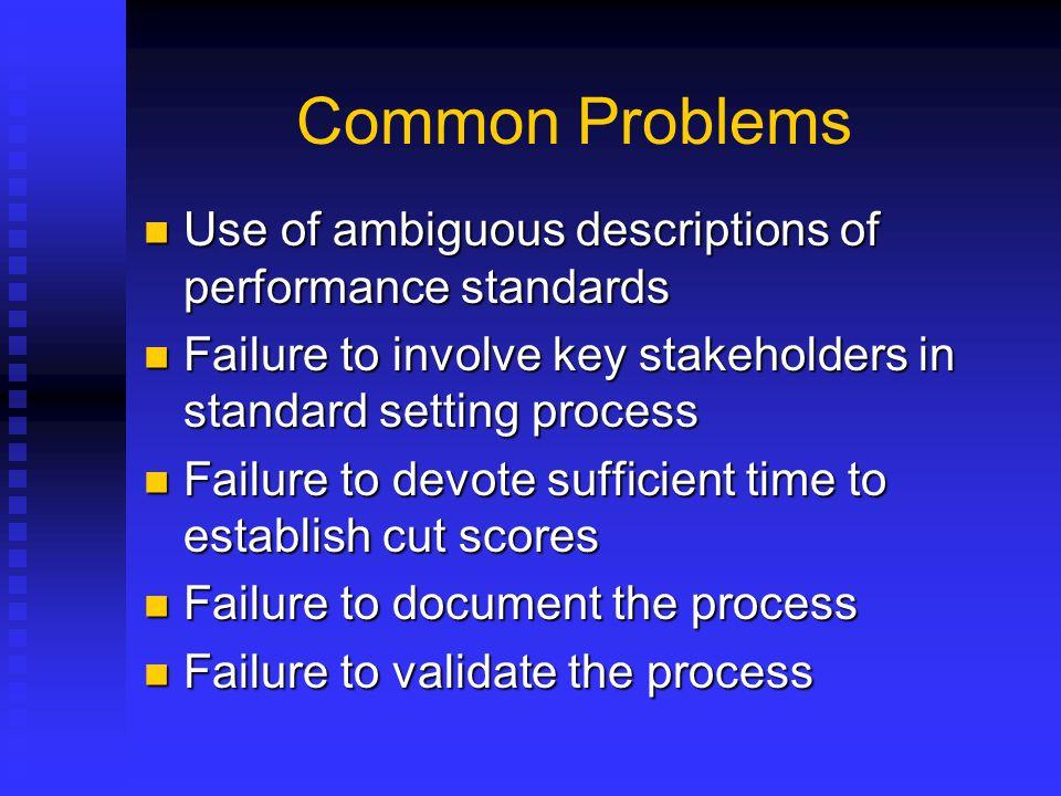 Common Problems Use of ambiguous descriptions of performance standards Use of ambiguous descriptions of performance standards Failure to involve key s
