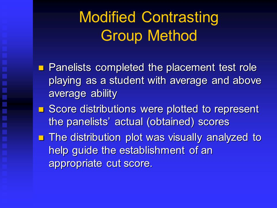 Modified Contrasting Group Method Panelists completed the placement test role playing as a student with average and above average ability Panelists co
