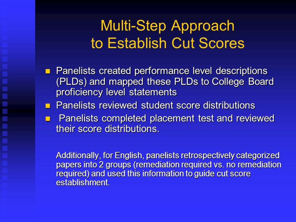 Multi-Step Approach to Establish Cut Scores Panelists created performance level descriptions (PLDs) and mapped these PLDs to College Board proficiency