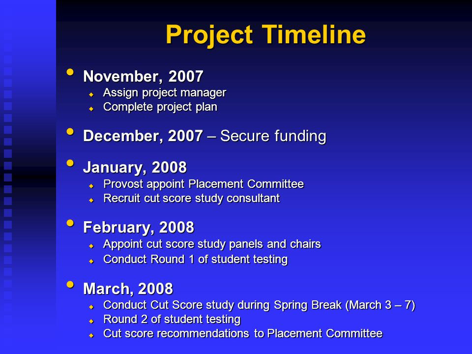 November, 2007 November, 2007  Assign project manager  Complete project plan December, 2007 – Secure funding December, 2007 – Secure funding January