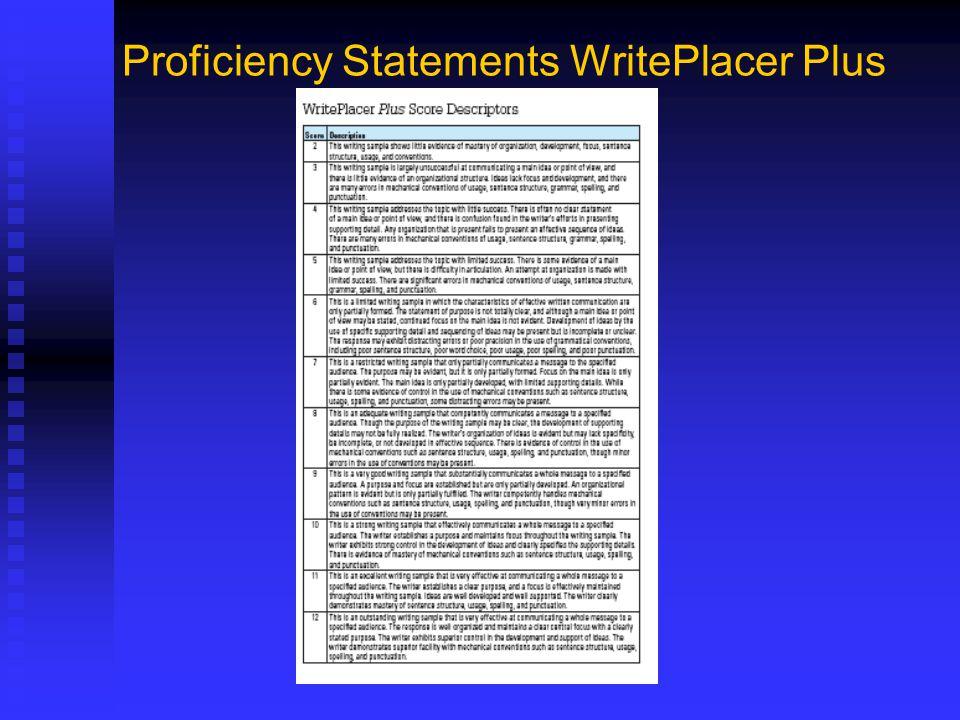 Proficiency Statements WritePlacer Plus
