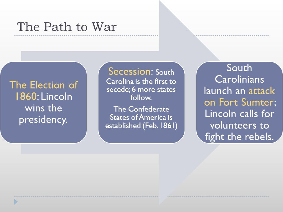 The Path to War The Election of 1860: Lincoln wins the presidency. Secession: South Carolina is the first to secede; 6 more states follow. The Confede