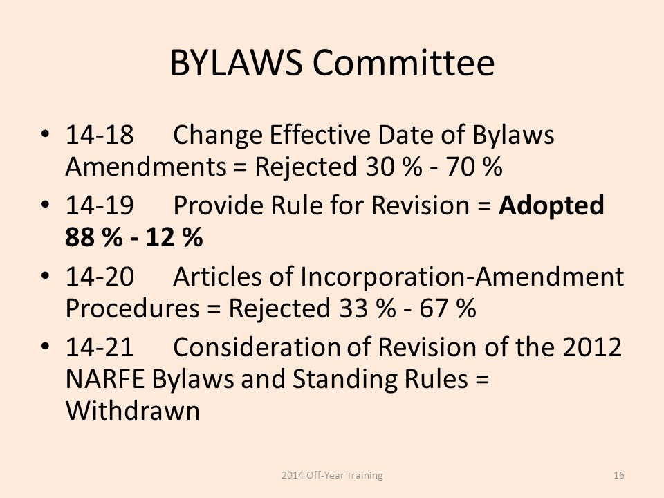 BYLAWS Committee 14-18Change Effective Date of Bylaws Amendments = Rejected 30 % - 70 % 14-19Provide Rule for Revision = Adopted 88 % - 12 % 14-20Arti
