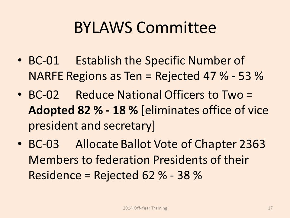 BYLAWS Committee BC-01Establish the Specific Number of NARFE Regions as Ten = Rejected 47 % - 53 % BC-02Reduce National Officers to Two = Adopted 82 %