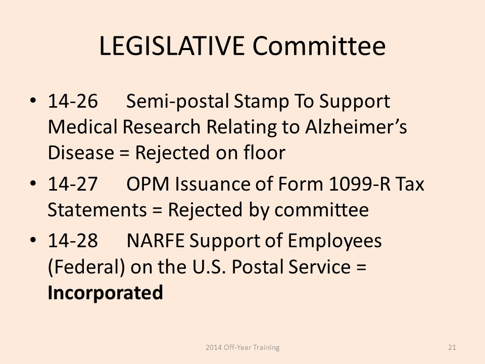 LEGISLATIVE Committee 14-26Semi-postal Stamp To Support Medical Research Relating to Alzheimer's Disease = Rejected on floor 14-27OPM Issuance of Form