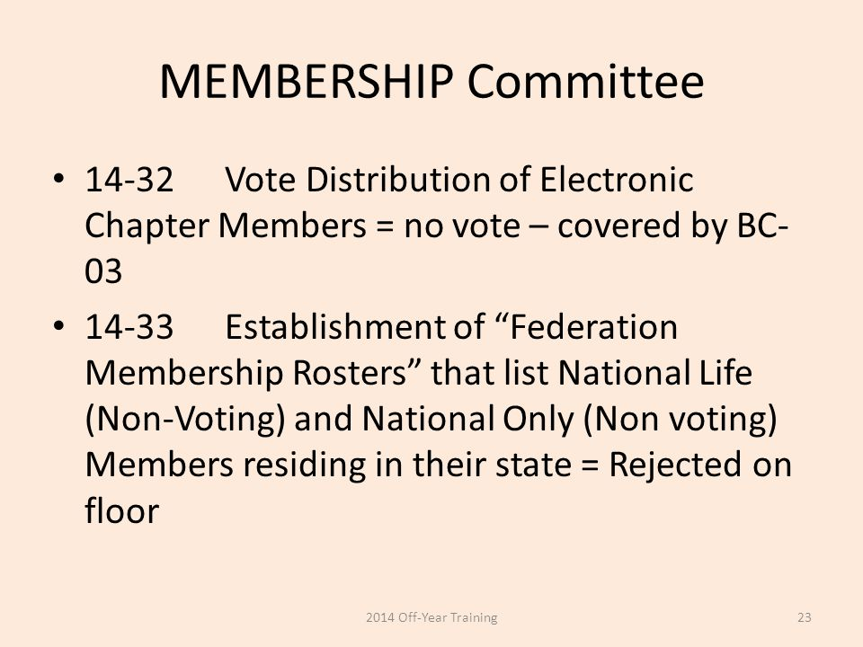 "MEMBERSHIP Committee 14-32Vote Distribution of Electronic Chapter Members = no vote – covered by BC- 03 14-33Establishment of ""Federation Membership R"
