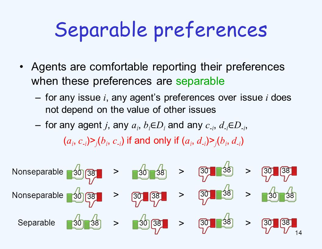 Agents are comfortable reporting their preferences when these preferences are separable –for any issue i, any agent's preferences over issue i does not depend on the value of other issues –for any agent j, any a i, b i ∈ D i and any c -i, d -i ∈ D -i, ( a i, c -i )> j ( b i, c -i ) if and only if ( a i, d -i )> j ( b i, d -i ) 14 Separable preferences 3038 30 38 30 > > > 38 30 38 30 > > > Separable Nonseparable 3038 30 38 30 > > > Nonseparable