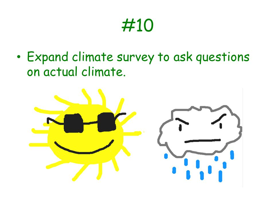 #10 Expand climate survey to ask questions on actual climate.