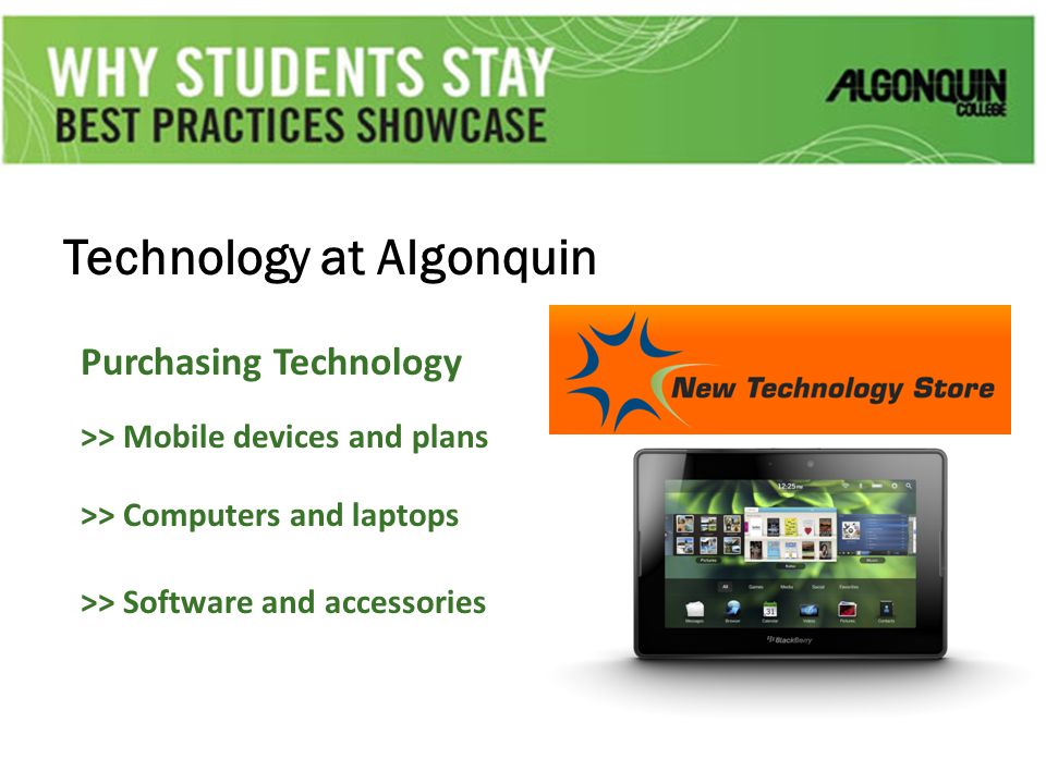 Technology at Algonquin Purchasing Technology >> Mobile devices and plans >> Computers and laptops >> Software and accessories